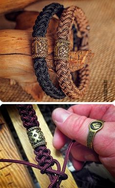 Rune of Destiny - Paracord-Armband mit exklusiver Runic-Perle. Leather jewelry diy Rune of Destiny - Paracord-Armband mit exklusiver Runic-Perle Bracelet Crafts, Jewelry Crafts, Handmade Jewelry, Diy Bracelet Boho, Pearl Bracelet, Handmade Bracelets, Man Bracelet, Viking Bracelet, Bracelet Knots