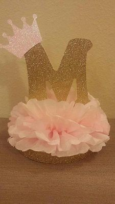 Princess or Prince Initial Tiara Glitter Centerpiece birthday or baby shower table decor Royal little prince or princess pink and gold party deco… - Decoration For Home Baby Shower Table Decorations, Gold Party Decorations, Birthday Decorations, Princess Party Decorations, Birthday Party Centerpieces, Diy Baby Shower Centerpieces, Baby Decor, Royal Princess Birthday, Baby Shower Princess