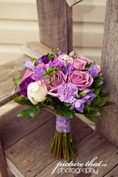 Green Pink Purple White Bouquet Wedding Flowers Photos & Pictures - WeddingWire.com