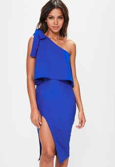 df9728ac5d Blue Crepe One Shoulder Bow Sleeve Midi Dress