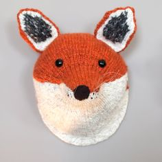 Custom Made Hand Knitted Faux Taxidermy Fox Head on Etsy, $207.00