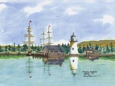 Mystic Light, Mystic Watercolor prints and note cards of over 250 lighthouses all over the USA.  Start your collection today.  Original paintings by sailor/artist  Alfred La Banca, Darien, CT