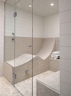 An S-shaped seat turns your shower or steam room into one you can LIE DOWN IN. An S-shaped seat turns your shower or steam room into one… Dream Bathrooms, Beautiful Bathrooms, Spa Design, House Design, Design Ideas, Bath Design, Modern Design, Design Inspiration, Bathroom Inspiration