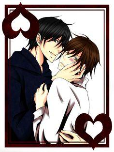 Tags: Anime, Junjou Romantica, Junjou Egoist, Kamijou Hiroki, Kusama Nowaki, Hand On Cheek