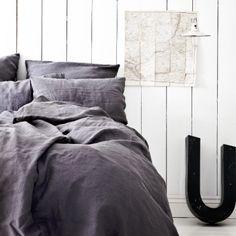 Tell Me More - sängkläder, kuddfodral & kökstextil i linne Nordic Design, Dark Grey, Sweet Home, Beautiful, Inspiration, Linens, Bedrooms, Google, Biblical Inspiration