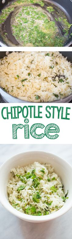 Chipotle style rice- this delicious cilantro rice tastes just like chipotles and is so easy to make!