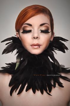 Feather collar choker black burlesque swan. $60, via Etsy.    Just wear this and nothing else.