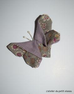 Pince papillon japonais liberty rose marron ou gris - L'atelier du petit oiseau