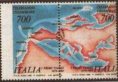 """1990 - """"Colombo Rosa"""" - Celebrazioni Colombiane nel 5° Centenario della scoperta dell'America - I due francobolli sono stati emessi uniti a formare un """"Blocco Mosaico"""" - Il mancato passaggio del giallo ha dato origine ai 50 esemplari noti con il nome di """"Colombo rosa"""""""