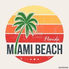 Vecteur : Miami beach Florida tee print with palm tree. T-shirt design, graphics, stamp, label, typography.