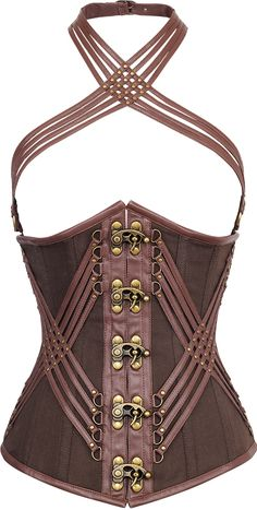 The Violet Vixen - KingsRoad Brown Corset https://www.steampunkartifacts.com/collections/steampunk-glasses