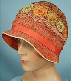 1926 Super Pretty Apricot Colored Straw Cloche with Silk Ribbon Flowers!