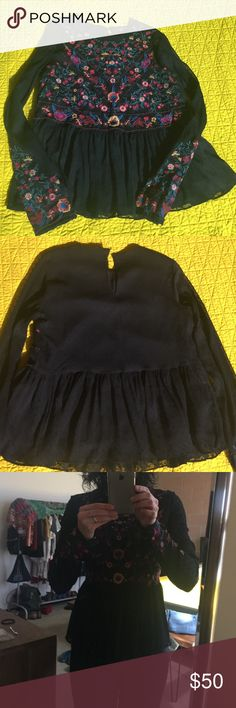 Zara Embroidered Blouse NWOT NWOT black gorgeous embroidered blouse. Never used except for pics. This is definitely a statement blouse! Just inn and gooooorgeus! Zara Tops Blouses