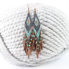 Fringe beaded earrings, Native American inspired, ethnic jewelry, seed bead earrings, turquoise jewelry, beadwork, Beading, bugle beads,