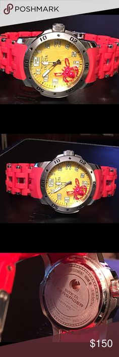 Invicta sea spider model 19784 48mm unisex watch Invicta sea spider components Swiss caliper seven 6348 mm case size stainless steel as a push type crown flame fusion crystal stainless steel and polyurethane Tone red and steel link 215MM size 26MM divers buckle and I safety clasp with a rotating bezel water resistance 100 m this is this does have a yellow webbed face with a red spider 3-D effect very cool Invicta Accessories Watches