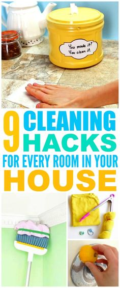 These 9 cleaning hacks for every room in the house are THE BEST! I'm so glad I found these AWESOME tips! Now I have fast and easy home cleaning tips and tricks! Definitely pinning!