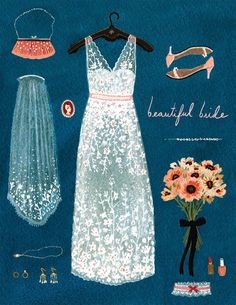 something blue bridal card by beccastadtlander on Etsy Wedding Illustration, Illustration Mode, Illustration Mignonne, Something Blue Bridal, Art Graphique, Gouache, Fashion Sketches, Becca, Beautiful Bride