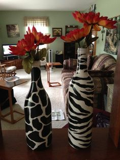 Decorate your old wine bottles by painting them!