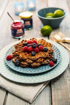 Proteinvåfflor med banan och blåbär Kung, Tasty, Yummy Food, Stevia, Gluten Free Recipes, Free Food, Waffles, Breakfast Recipes, Cereal