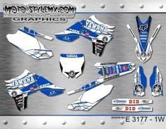 Yamaha YZf 450 '10-'13 graphics decals kits Yamaha Yzf, Custom Design, Decals, Blue And White, Graphics, Motorbikes, Tags, Graphic Design, Sticker