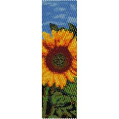 Sunflower Peyote Bead Pattern, Bracelet Cuff, Bookmark, Seed Beading Pattern Miyuki Delica Size 11 Beads - PDF Instant Download