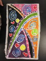 Batik with toothpaste, aloe vera gel, and tempera paints.  A fun craft and also a good human geography lesson about Indonesia and other dying techniques they're known for, like ikat.