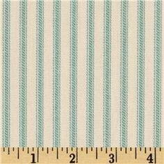 Vertical Ticking Stripe Ivory Cerulean Aqua