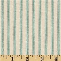 Vertical Ticking Stripe Ivory/Aqua  maybe to recover my ottoman