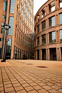Entrance to the coliseum-inspired Vancouver Public Library, located in downtown Vancouver, B.C., Canada