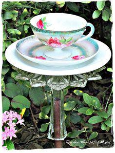 Vintage German Teacup Bird Feeder Garden by GardenWhimsiesByMary