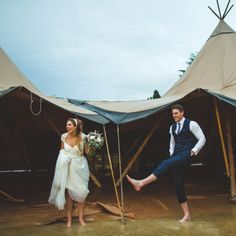 Katy & Richard had the perfect tipi wedding planned but then torrential rain hit! So they embraced it & danced in the rain anyway!