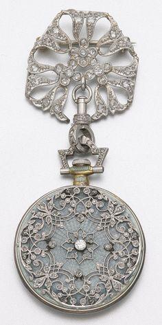 PLATINUM, GOLD, DIAMOND AND ENAMEL PENDANT WATCH, TIFFANY & CO., CIRCA 1910