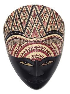 Wood batik mask, 'Panji Laras' - Handcrafted Indonesian Batik Wood Mask