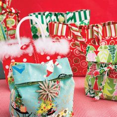 Love those whimsical prints with a look from a bygone era? Use them to sew up  bags that are just as good as the gifts inside!