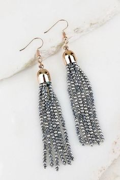 Bold Streak Silver Tassel Earrings from privityboutique