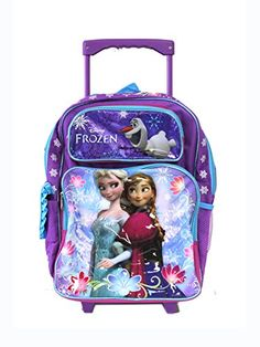 Full Size Purple and Blue Sisters Stick Together Disney Frozen Rolling Backpack: Disney Frozen Olaf School Backpack for girls. 2 mesh side pockets, 1 main zippered compartment and front zippered pocket. Perfect for light carry use. Backpack Outfit, Rucksack Backpack, Backpacks For Sale, Girl Backpacks, Backpack With Wheels, Disney Frozen Olaf, Rolling Backpack, Trolley Bags, Kids Bags