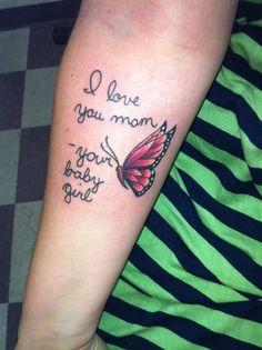 My daughter's handwriting, memorial tattoo