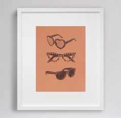 sunglasses  9x12 hand pulled print by GirlAndParrot on Etsy, $21.00
