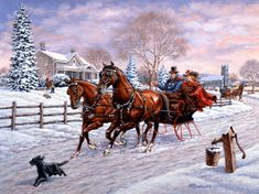 Horses in snow, painting by Rchard De Wolfe