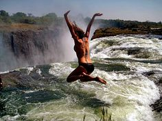 Devil's Pool / Victoria Falls in southern Africa on the Zambezi River between the countries of Zambia and Zimbabwe.