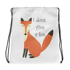 Don't Give A Fox - Drawstring bag. Combine your love for vibrant prints and a sporty style with a cool drawstring bag. Gym Essentials, Drawstring Bags, Sporty Style, Gym Bag, Fox, Backpacks, Fabric, Prints, Cotton