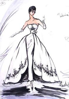 Edith Head sketch for Audrey Hepburn in Sabrina, 1954.  Honestly, who doesn't love the Sabrina dress?  The film is a must-see for this elegantly-tailored confection of a dress alone. Try to ignore Bogie's rather-stale delivery, though.  (They didn't get along, plus Audrey and William Holden were having an affair and all.)