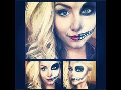 Half pin up, Half skeleton Halloween makeup tutorial....... omg i really love it