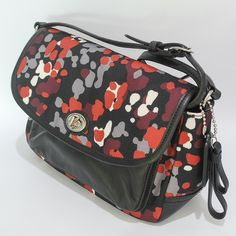 """Coach Park Splatter Cross Body BNWT. Beautiful print and supple black leather. Highly polished nickel hardware. Black leather adjustable strap with up to a 22"""" drop. Front flap with turnlock closure. There is a rear pocket that runs the length of the bag. All items are from a smoke/pet free home. Coach Bags Crossbody Bags"""