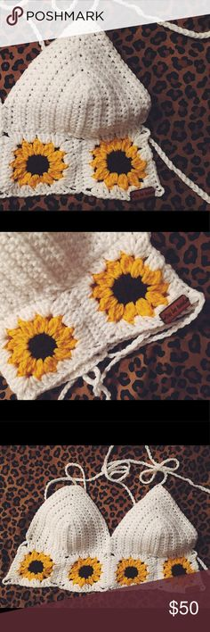 Sunflower Crochet Top • brand new bought off Etsy & never wore                                  • sunflower crochet top                                                               • strappy detailing in the back Tops Crop Tops
