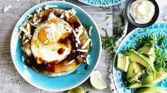 Mex brekkie: Start the day with huevos rancheros served on tortillas.