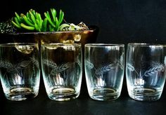 Set of 4 Mid century modern tumbler glasses, Vintage etched glasses, Ears of corn, wheat, pattern, Mid century glasses, Vintage bar Man cave
