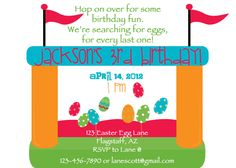 PRINTABLE Easter Egg Bounce House Birthday Party by luvbugdesign, $14.00