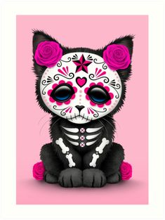 Red Day of the Dead Sugar Skull Panther Cub by Jeff Bartels Red Day, Pink Day, Panther Cub, Black Panther, Cat Shower Curtain, Day Of The Dead Art, Sugar Skull Art, Sugar Skulls, Rosa Rose