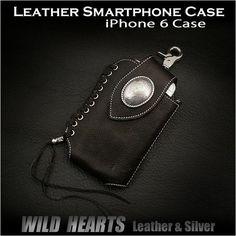 Genuine Cowhide Leather iPhone6 Case Smartphone Case WILD HEARTS Leather&Silver(ID cc1378r22) http://item.rakuten.co.jp/auc-wildhearts/cc1378r22/